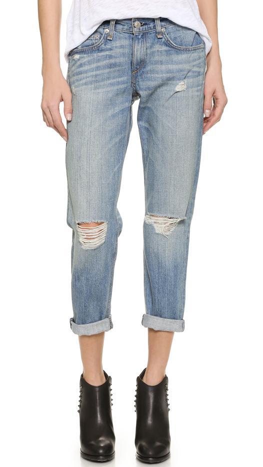 Rag & Bone/Jean Boyfriend Jeans, Moss With Holes