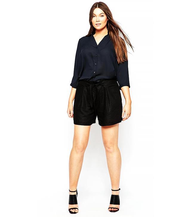 ASOS Curve Linen Belted Shorts