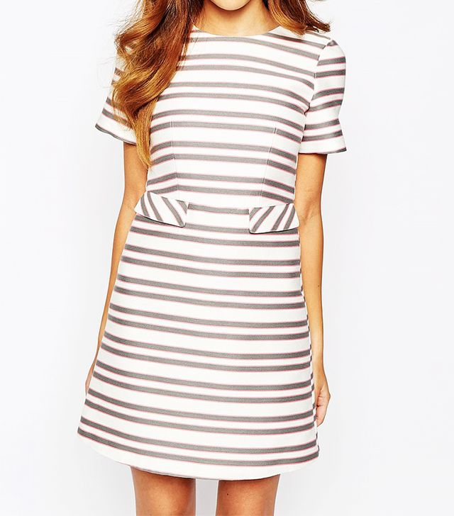Warehouse Jacquard Striped Shift Dress
