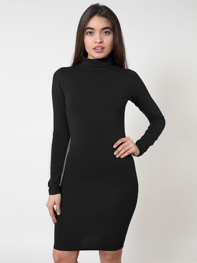 American Apparel Cotton Spandex Jersey Turtleneck Dress
