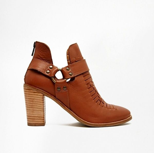ASOS ELDORADO STREET Weave Leather Cut Out Leather Ankle Boots