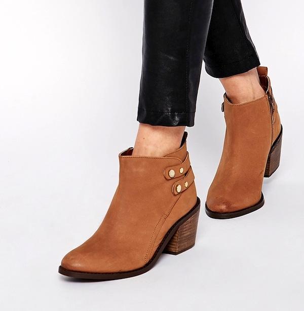 Oasis Ida Tan Block Heel Ankle Boots