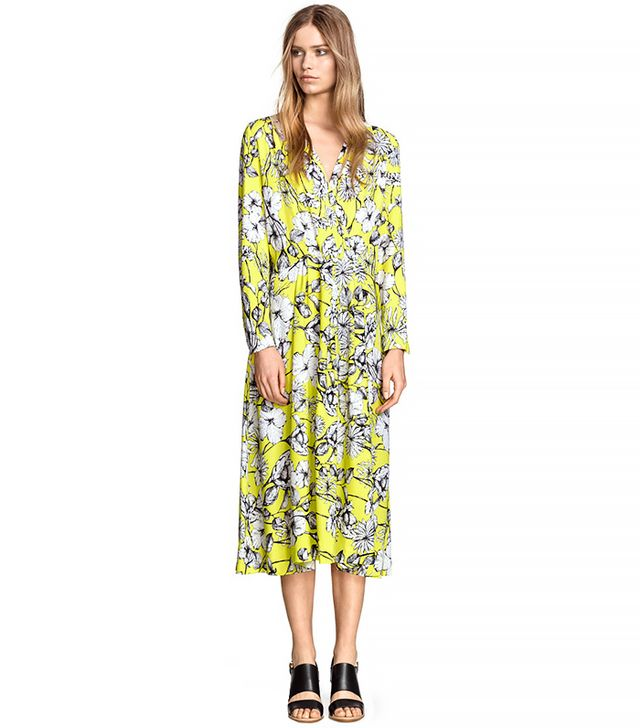 H&M Wide-Cut Dress, Yellow/Floral