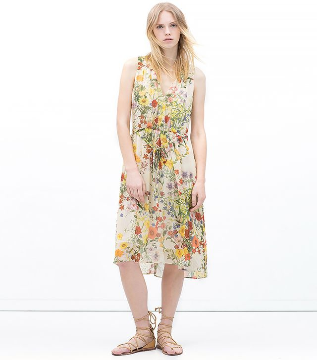 Zara Floral Dress with Front Gathering