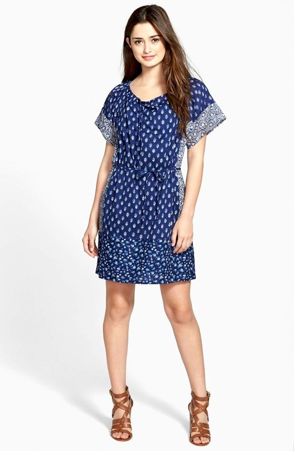 Lucky Brand Indigo Floral Cotton Dress