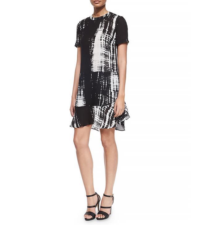 A.L.C. Louise Tie-Dye Print Silk Dress, Black/White