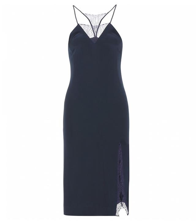 Tamara Mellon Lace-Trimmed Silk Dress