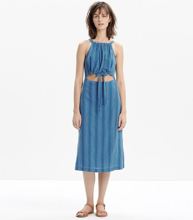 Madewell Indigo Striped Cutout Sundress