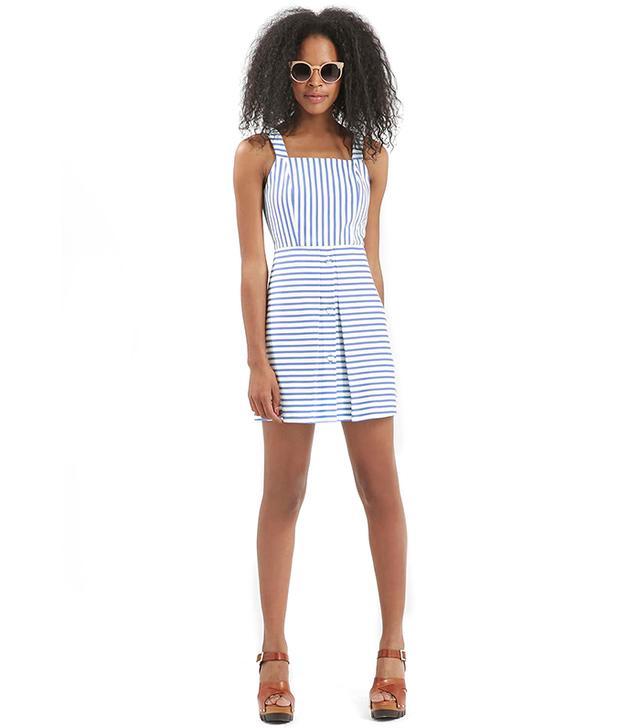 Topshop Stripe Button Pinafore Dress