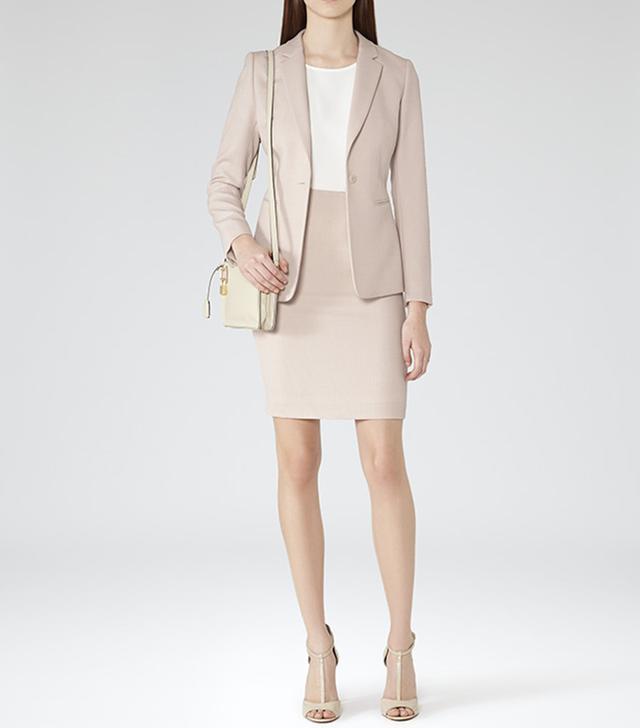 Reiss Daniella S Blush Melange Jacquard Weave Skirt