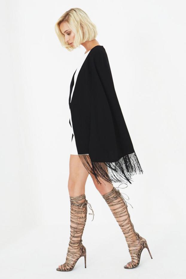 Lindsay Lohan x Lavish Alice Tassel-Hem Cape Blazer