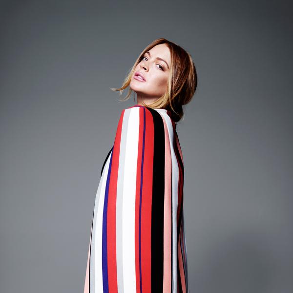 Lindsay Lohan x Lavish Alice Multi-Stripe Print Colarless Cape Blazer