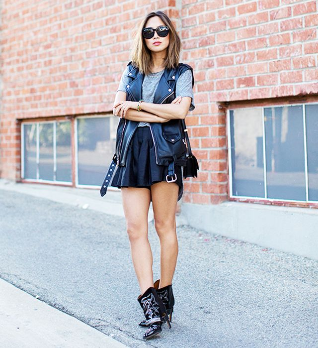 If your casual summer lookneeds a bit of an edgy upgrade, just toss a moto vest over it.