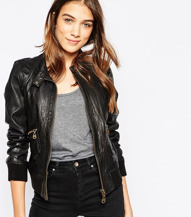 Doma Leather Hooded Bomber Jacket