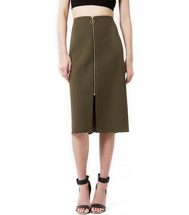 Topshop Zip-Front Midi Skirt