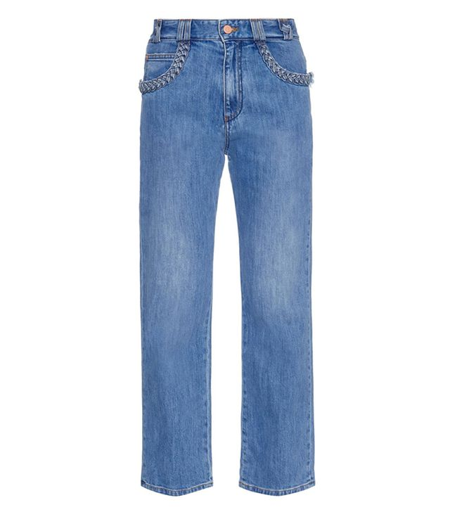 See by Chloé Braid Pocked Boyfriend-Fit Jeans