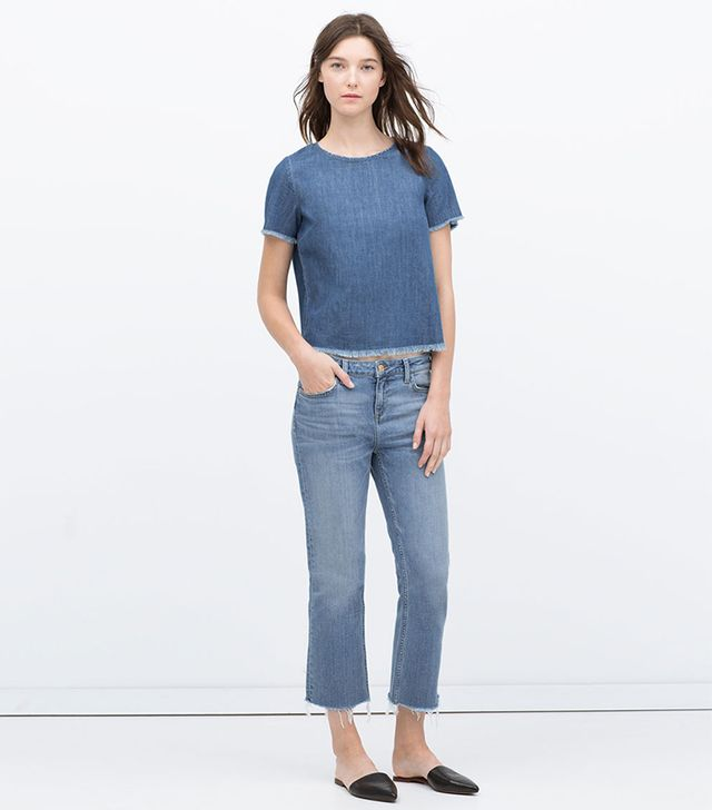 Zara Jeans With Frayed Hem
