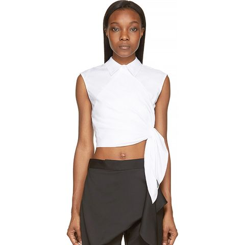 Side Knot Cropped Shirt