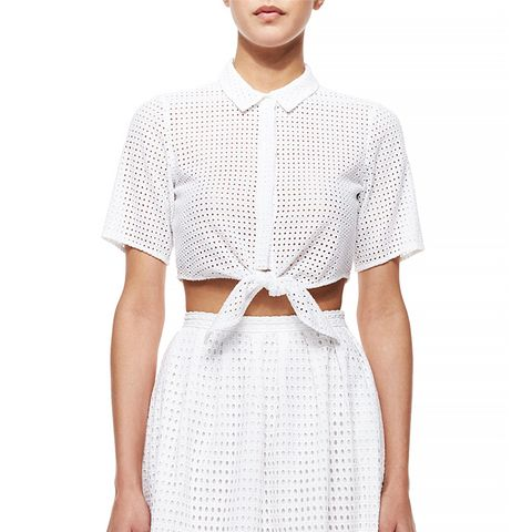 Mini Circle Eyelet Tie-Front Crop Blouse