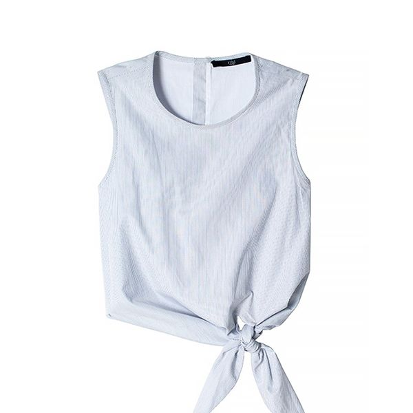 Tibi Striped Tie-Front Cropped Top