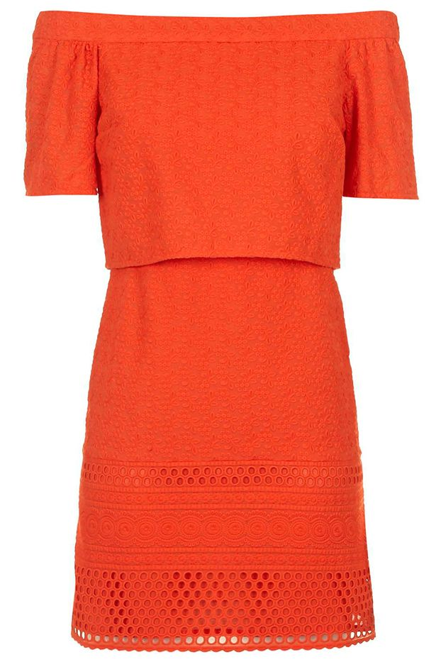 Topshop Embroidered Bardot Dress