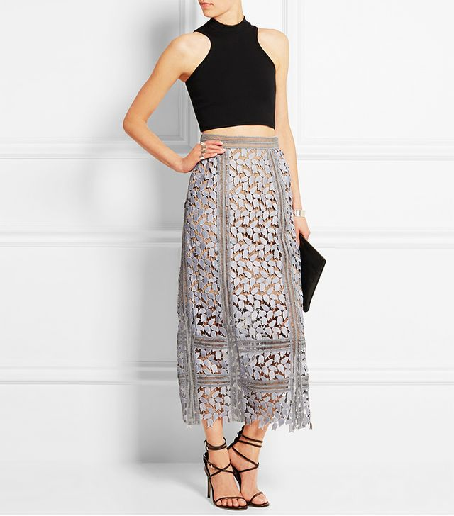 Self-Portrait Arabella Guipure Lace Midi Skirt
