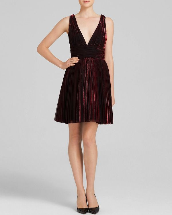 ABS by Allen Schwartz Sleeveless Deep V-Neck Pleated Metallic Fit and Flare Dress
