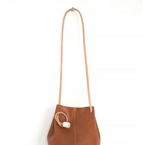 Butterscotch Brown Leather Bucket Bag