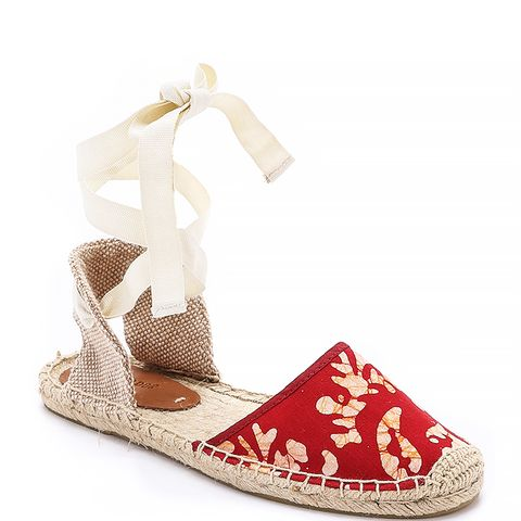 Batik Leaves Espadrille Sandals, Red/White