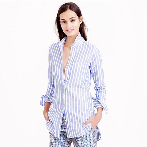 Long Cotton-Linen Boy Shirt, Stripe