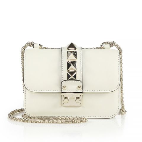 Rockstud Lock Mini Shoulder Bag, ivory