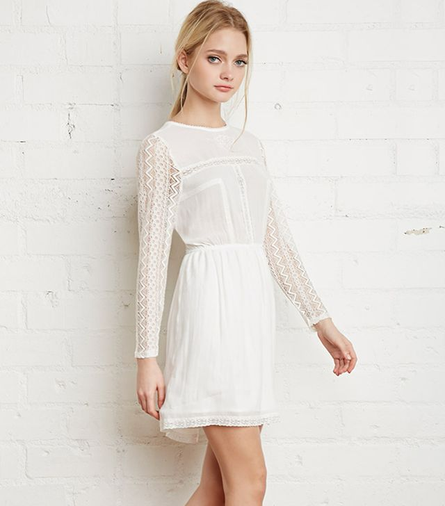 Forever 21 Floral Lace Trimmed Dress