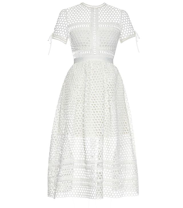 Self-Portrait Panelled Lace Midi Dress
