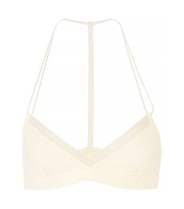 Skin Tulle-trimmed Organic Pima Cotton-blend Soft-cup Bra