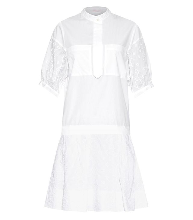 See by Chloé Dropped-Waist Embroidered Cotton Dress
