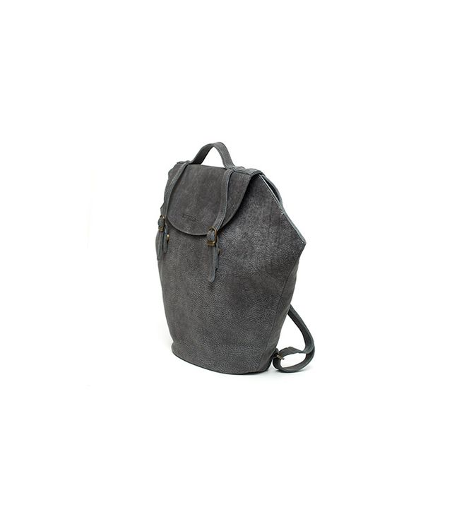 Black Leather Travel Laptop Backpack