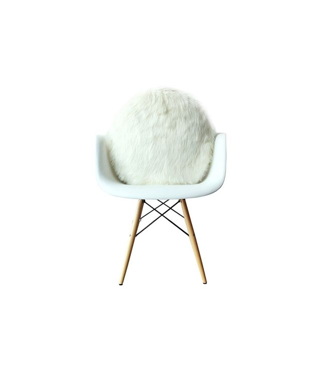 Round White Faux Fur Pillow