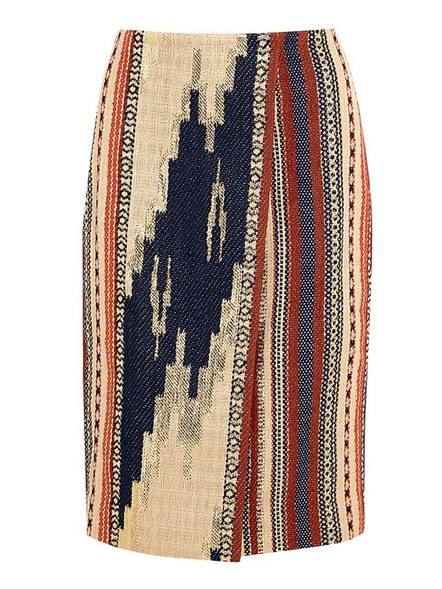 J.Crew Collection Collection Alto Metallic Ikat Jacquard Wrap Pencil Skirt