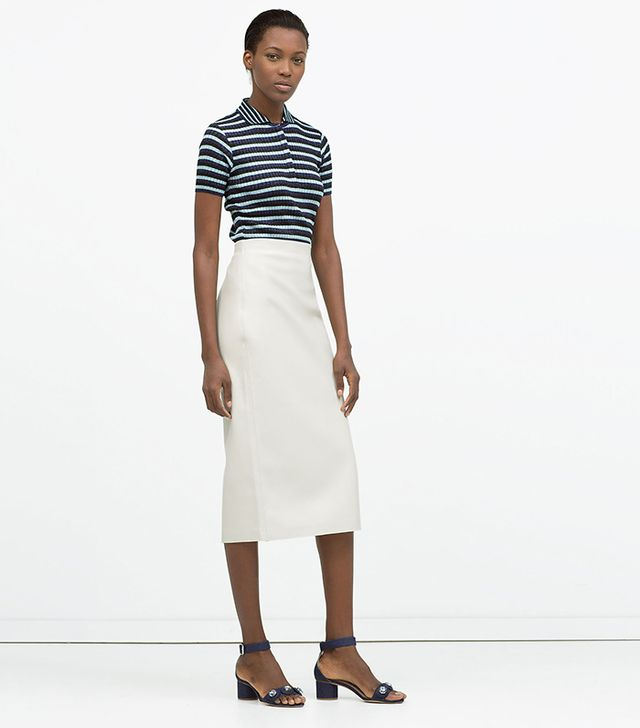Zara Faux Leather Midi Pencil Skirt