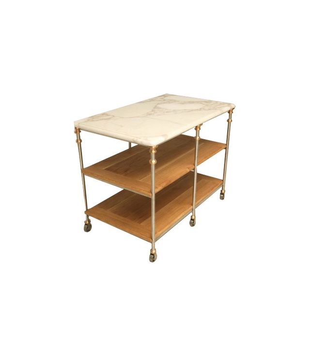 Old Plank Road Designer Stainless Steel & Bronze Kitchen Island