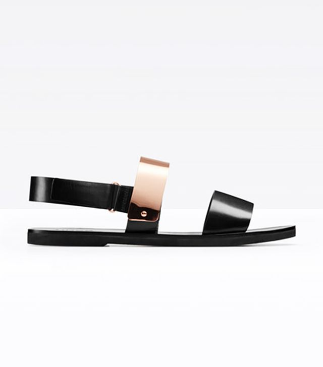 Vince Ciara Leather And Metal Plate Sandal