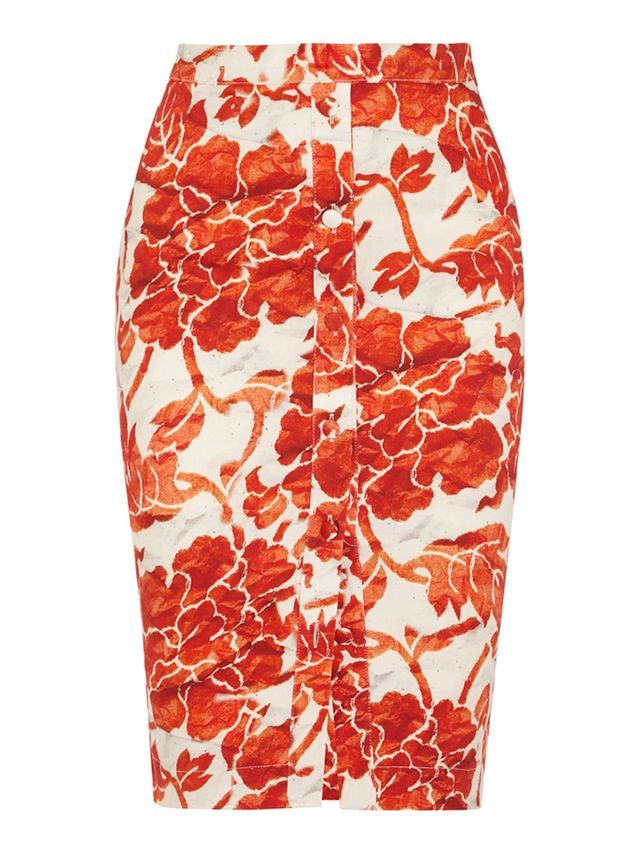 Altuzarra Balthazar Floral Print Cotton Pencil Skirt