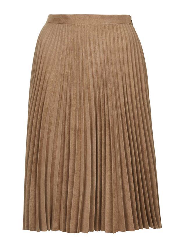 Topshop Suedette Pleated Midi Skirt