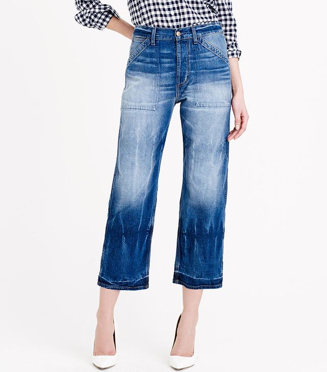 J.Crew  Point Sur Teddy Buckle-Back Cropped Jeans