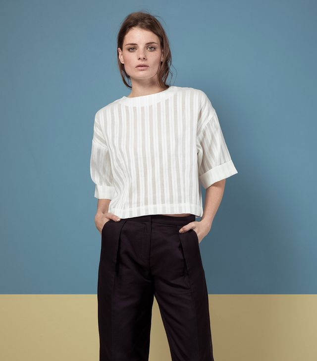 Finery London Canvas Sheer Stripe Top