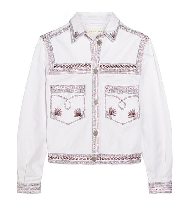 Étoile Isabel Marant Abril Embroidered Stretch-Denim Jacket