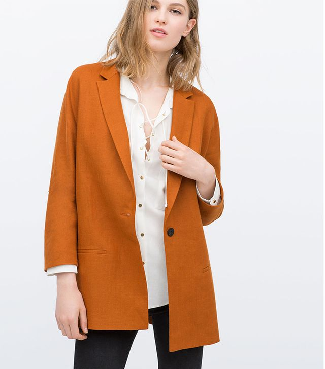 Zara Loose Blazer with Piped Pocket