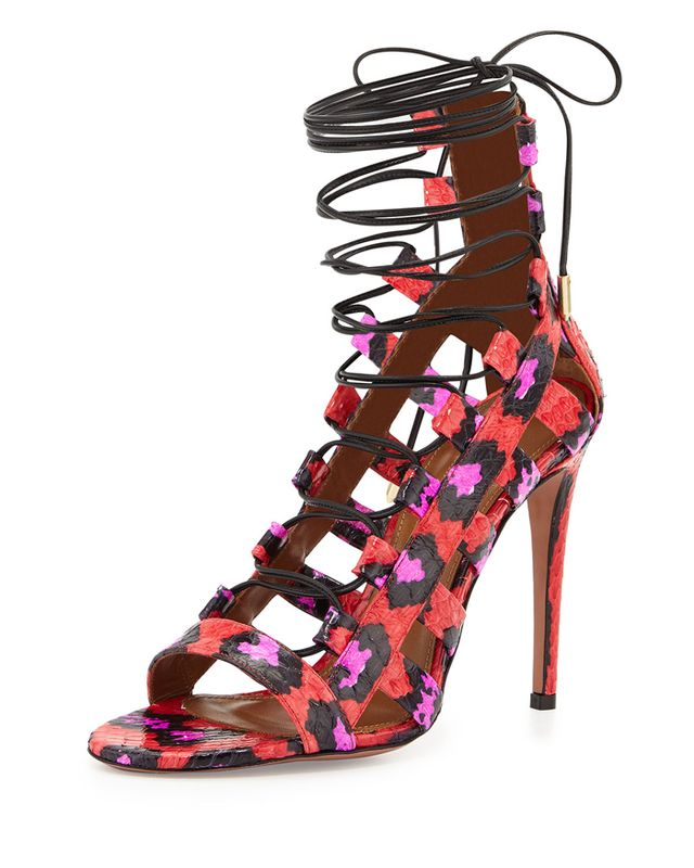 Aquazzura Amazon Strappy Snakeskin Sandals