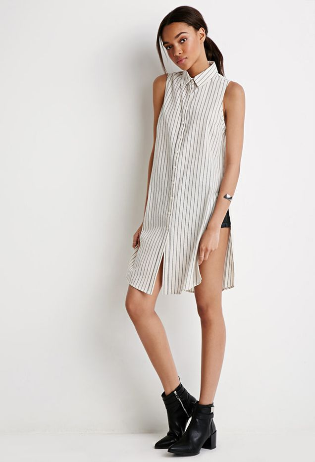 Forever 21 Striped Thigh-High Slit Shirt