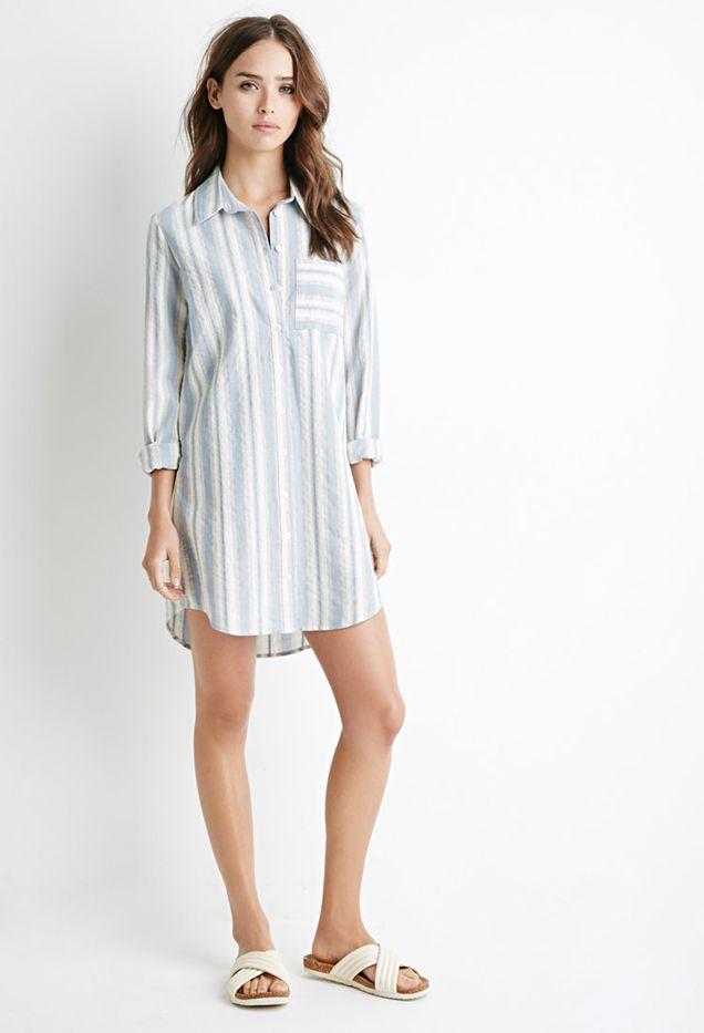 Forever 21 Multi-Stripe Shirt Dress